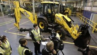 George Osborne at the JCB plant in Wrexham