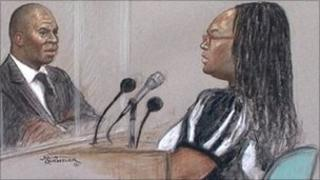 Court drawing of Delroy Grant, and Janet Watson at Woolwich Crown