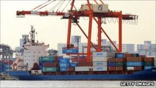 Container ship in Tokyo harbour some months before the earthquake