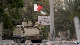 Tank in Bahraini capital Manama