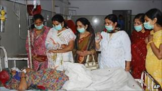 A pregnant women suspected to have fallen ill after being administered contaminated intravenous fluid at a hospital in Rajasthan state.