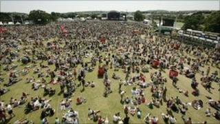 Crowds at the Isle of Wight Festival 2008