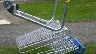 Dumped shopping trolley