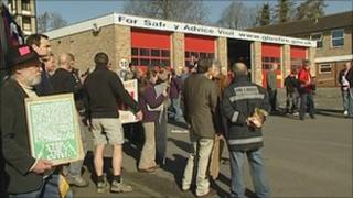 Protesters outside Stroud Fire Station