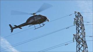 helicopter and power lines