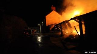 The fire broke out as pub customers were watching the Wales v France match