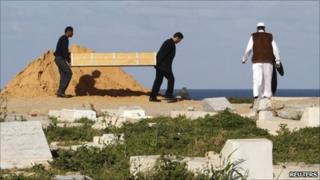Men carrying coffin in Tripoli