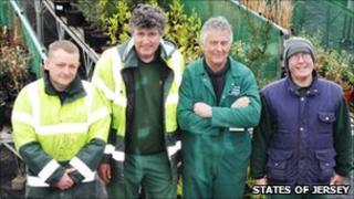David Cotillard with his team of gardeners in the gardening area
