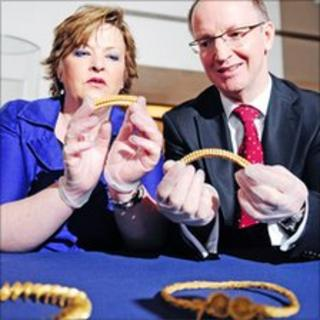 Fiona Hyslop and Dr Gordon Rintoul with the torcs