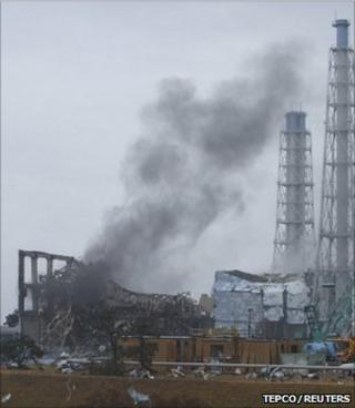 Smoke rising from reactor unit 3, Fukushima Daiichi nuclear power plant (Image: Tepco/Reuters)