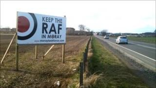keep raf in moray sign on grass verge