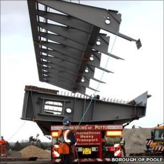Steel arriving at the site