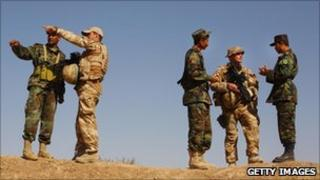 British forces training Afghan soldiers - photo taken in 2009