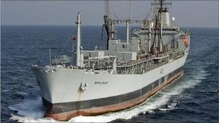 RFA Bayleaf. Copyright of the Royal Fleet Auxiliary.