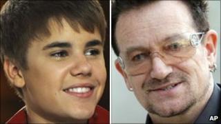 Justin Bieber and U2's Bono