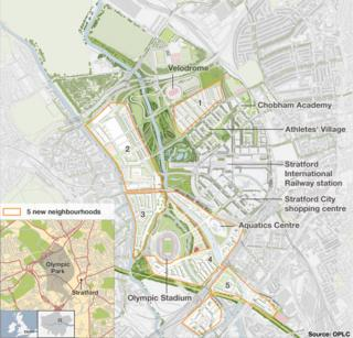 Map of the Olympic Park and neighbourhoods