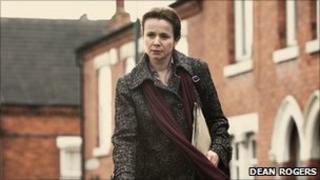 Emily Watson as Margaret Humphreys during filming in Sneinton, Nottingham