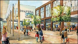 Artist's impression of Kings Triangle shopping area