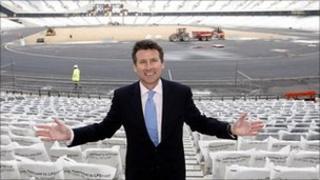 Sebastian Coe at the Olympic stadium in East London