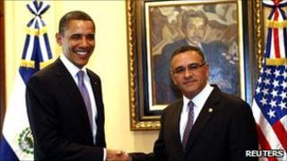 Barack Obama and Salvadoran President Mauricio Funes