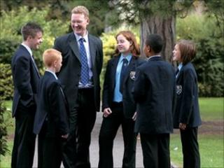 Head John Reilly talking with pupils