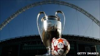 Champions League trophy and match ball for the final at Wembley stadium