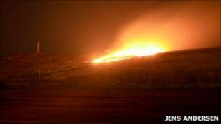 Gorse fire at Carn Brea. Pic: Jens Andersen
