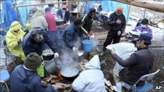 Tsunami survivors in Ofunato, Japan