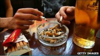 Smoking in a pub