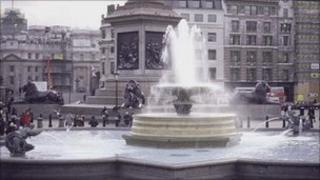 A fountain in Trafalgar Square