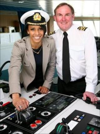 Dame Kelly Holmes with Captain David Miller on the Spirit of Britain