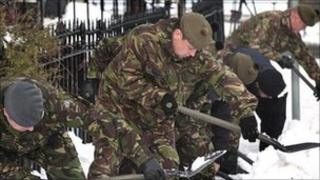 The Army clearing snow in Edinburgh