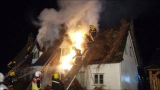 Thatched cottage fire (Pic courtesy Essex Fire and Rescue Service)