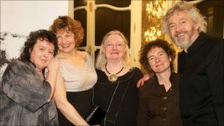 Poet Laureate, Carol Ann Duffy, Kaite O'Reilly, and judges, Gillian Clarke, Jeanette Winterson, and Stephen Raw