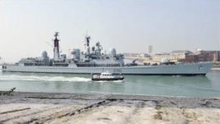 HMS Gloucester coming in to port for the final time