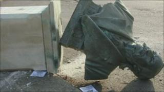 The bust after the vandalism