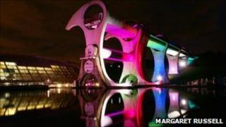 Falkirk Wheel lit up. Photo by Margaret Russell