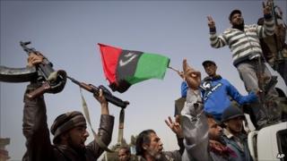 Libyan rebels after taking Ajdabiya, 26 March 2011