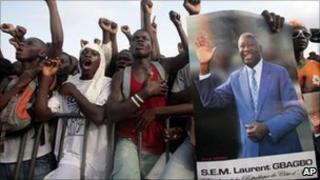 Supporters of Laurent Gbagbo rally in Abidjan, Ivory Coast - 26 March 2011