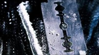 Cocaine and razor blade