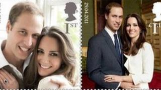 Royal Mail stamps commemorating wedding of Prince William and Kate Middleton