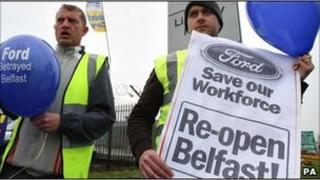 Sacked workers stage a protest