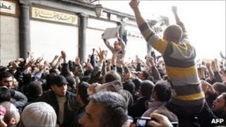 Syrians protest in Damascus on 25 March
