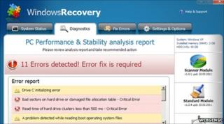 Screenshot of bogus Windows Recovery software