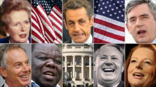 Margaret Thatcher, Nicolas Sarkozy, Gordon Brown, Julia Gillard, Ted Heath, Morgan Tsvangirai and Tony Blair