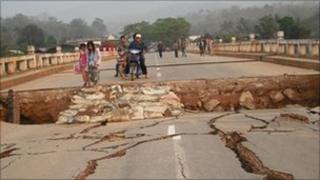 Damaged bridge in Myanmar