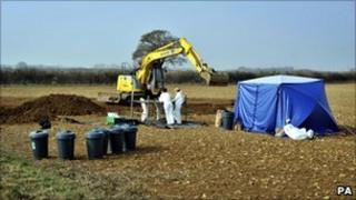 The scene at Eastleach where a body was found