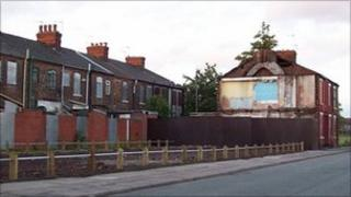 Derelict houses in the Broughton area of Salford