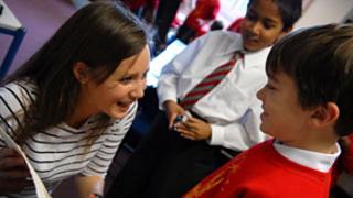 Teach First teacher with pupil