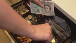 Money in till